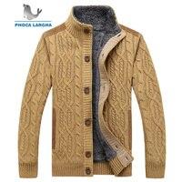 Men's Sweaters Winter Warm Thick Velvet Sweatercoat Single breasted Cardigan Men Casual Sweaters Pattern Knitwear size 3XL