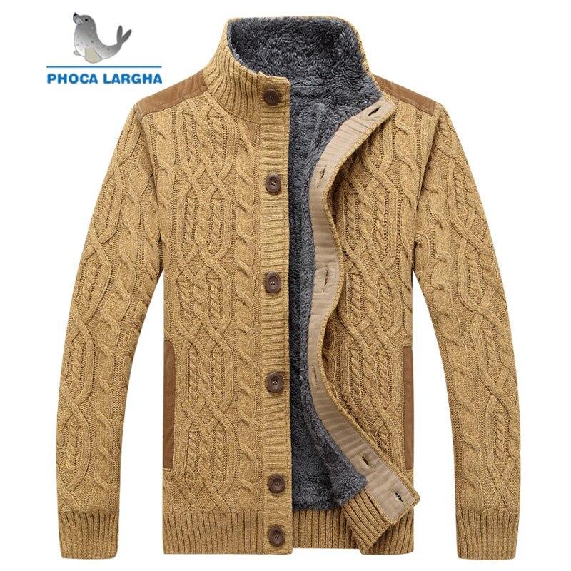 Männer Pullover Winter Warme Dicke Samt Sweatercoat einreiher Strickjacke Männer Casual Pullover Muster Strickwaren größe 3XL