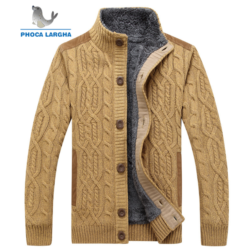 Men's Sweaters Winter Warm Thick Velvet Sweatercoat Single-breasted Cardigan Men Casual Sweaters Pattern Knitwear Size 3XL
