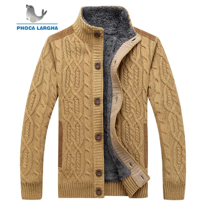 Men's Sweaters Winter Warm Thick Velvet Sweatercoat Single-breasted Cardigan Men Casual Sweaters Pattern Knitwear Size 3XL
