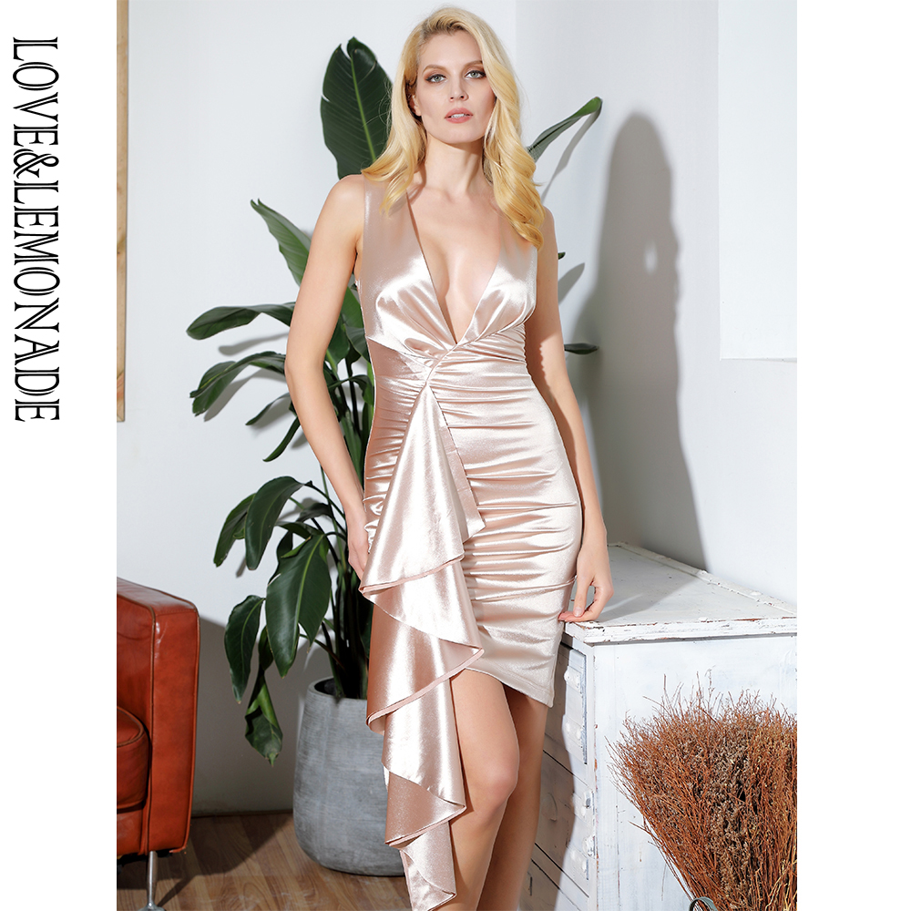 LOVE LEMONADE Sexy Deep V Neck Pleated Ruffled Trim Bodycon Party Reflective Dress LM81877 NUDE