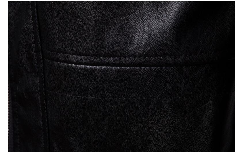 Mens giacca di pelle del motociclo sottile lungo cappotto di pelle giacche da uomo vestiti di strada personalizzato nero di modo di autunno inverno - 5
