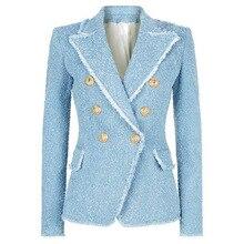 European 2018 classics double breasted tassels blazers coat Fashion slim fit women jackets D032