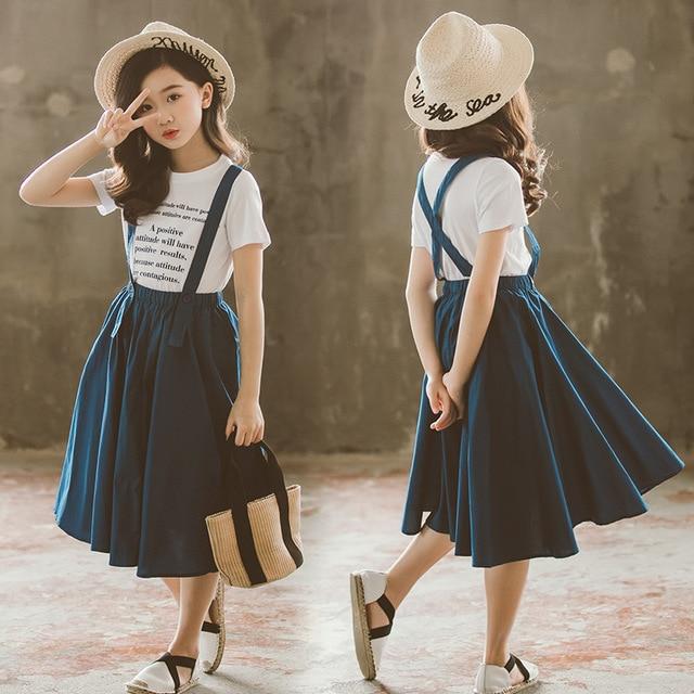 2019 Summer Kids Fashion Girls Clothing Sets 2 pcs Letter T-Shirt & Strap Skirt Set for 8 12 Years Child Teen Girls Clothes Set