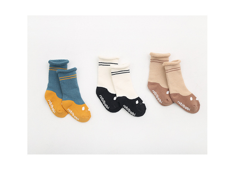 0-2Y Winter Baby Girl Boy Cotton Warm Thickness Knee Socks Children Kids Terry Loose Top Anti-slip Middle Tube Sox 3pairs/Lot 14