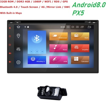 2 din car radio gps android8.0 7inch gps navigation steering wheel bluetooth aux obd2 car accessories car camera in dash cam DVD