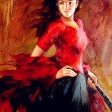 Испанская танцовщица картина маслом Современный импрессионист арт танец фламенко картина для гостиной ручной работы высокого качества