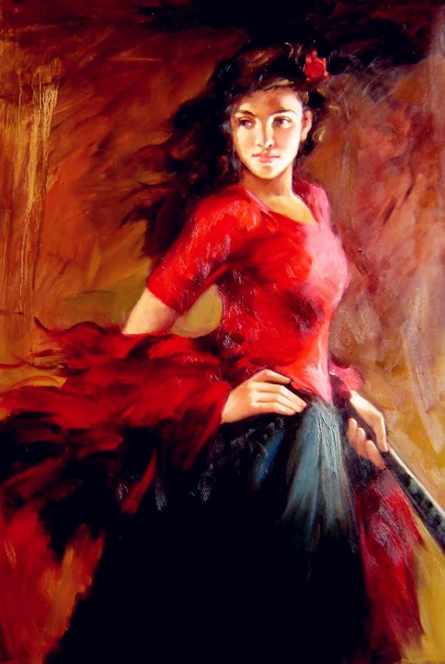espagnol danseur peinture l 39 huile moderne impressionniste art flamenco danse image pour salon. Black Bedroom Furniture Sets. Home Design Ideas