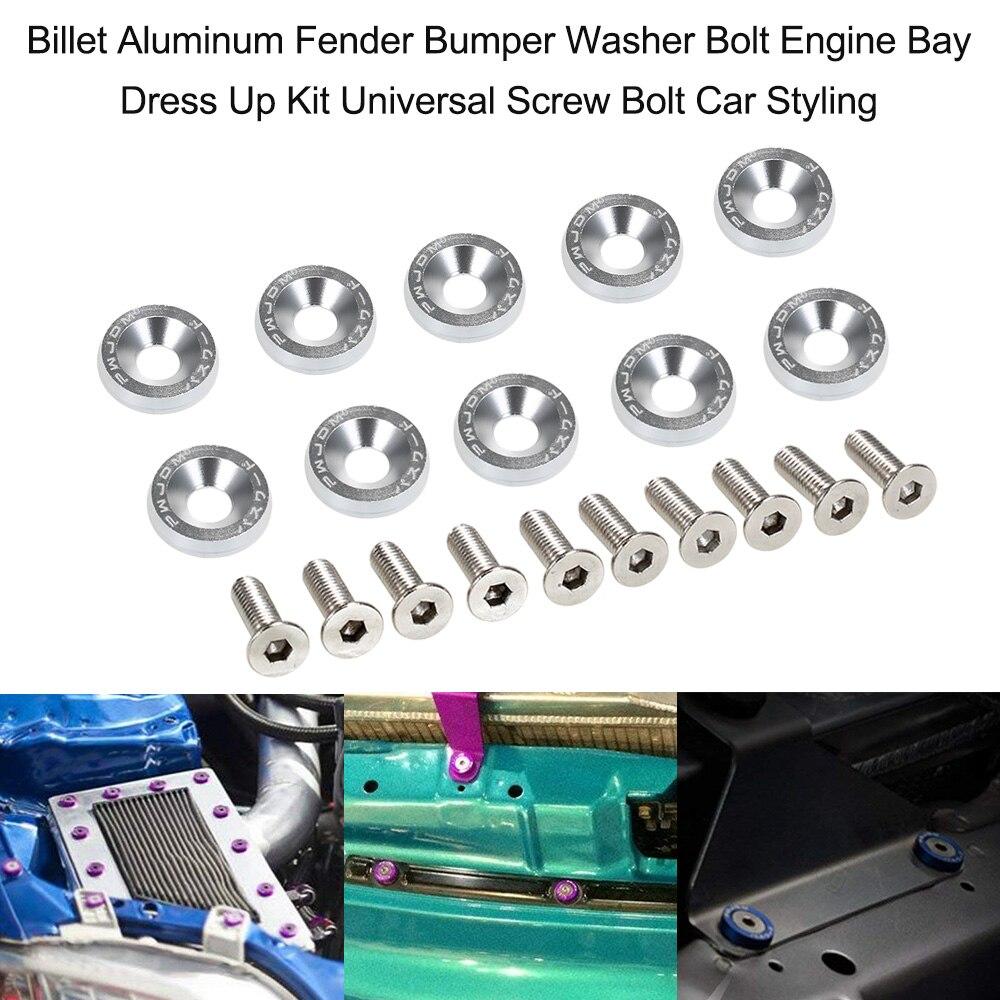 10 Pcs Aluminum Bumper Fender Bumper Washer Bolt Engine Bay Dress Up Kit Universal Screw Bolt Car Styling Pink