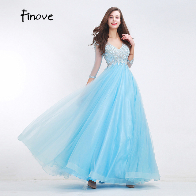 Simple And Elegant Wedding Dresses Boat Neck Three Quarter: Finove 2018 New Styles Beading Baby Blue Prom Dresses Long