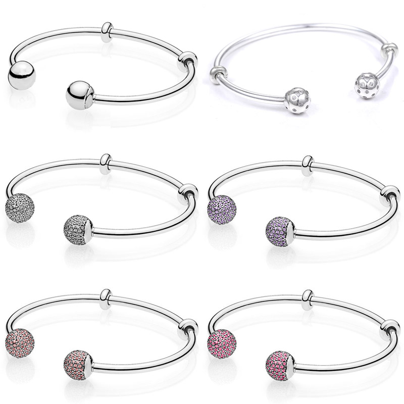 MOMENTS Open Bangle Shimmering Pave & Logo Caps WIth Cubic Zirconia Bangle Fit Pandora Bracelet 925 Sterling Silver Bead Charm