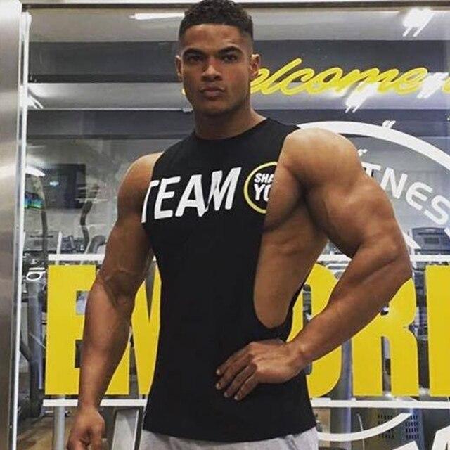 Mens academias de fitness Musculação Regatas Stringer Singlet Colete Roupas  sem mangas de algodão camisas do 1abb9574b9d