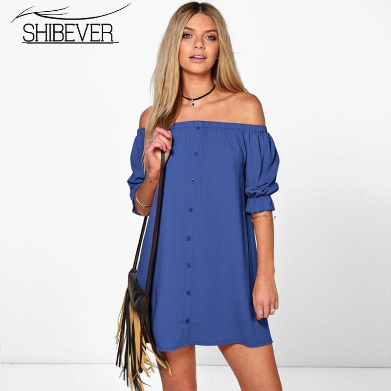 Women Summer Dress Fashion Slash Neck Mi