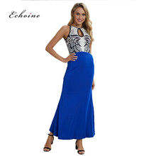 цена на Echoine Party EveningLong Dress Women Floral Print Patchwork Spaghetti Straps Cut Out Sexy Slim Maxi Elegant Ladies Vestidos