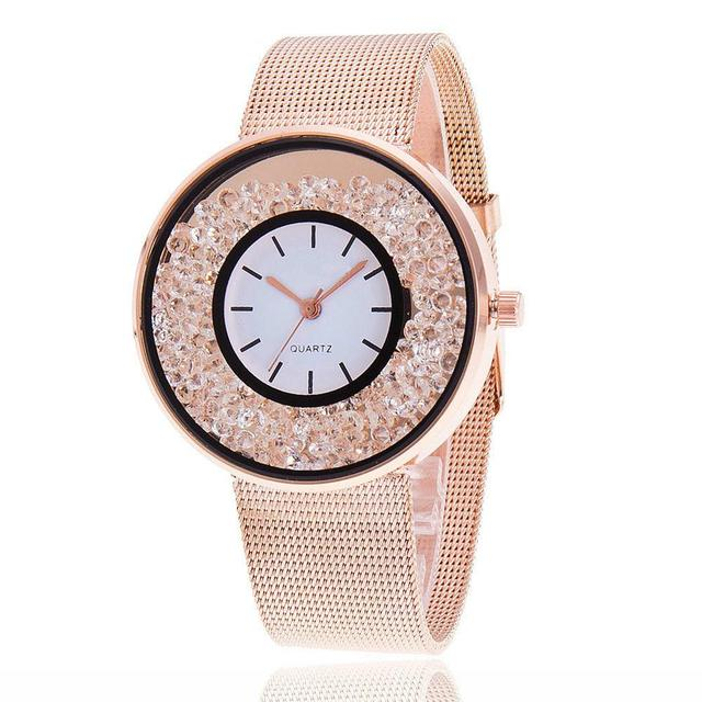 Hot Fashion Stainless Steel Rose Gold & Silver Wrist Wtach Luxury Women Rhinesto