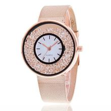 Hot Fashion Stainless Steel Rose Gold & Silver Wrist Wtach Luxury Women Rhinestone Watches Quartz Watch Relogio feminino