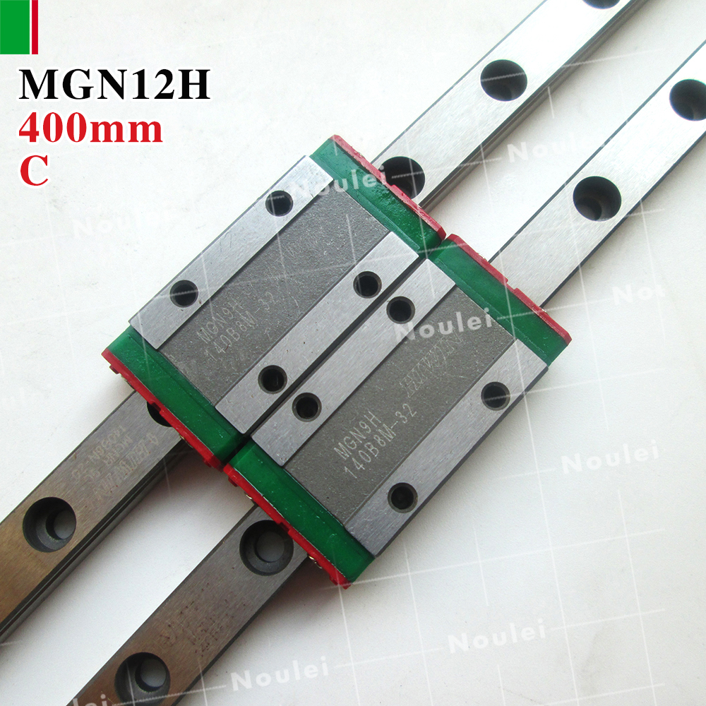 HIWIN MGN12H mini MGN12 slide block with 12mm linear guide rail 400mm for 3d printer High efficiency CNC kit metal frame linear guide rail for xzy axix high quality precision prusa i3 plus creality 3d cr 10 400 400 3d printer diy kit