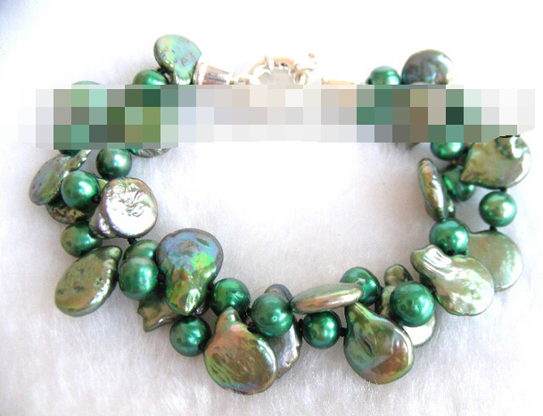 FREE SHIPPING>>>@@ > 03771 green coin freshwater pearls bracelet