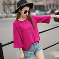 6 Color Three Quarter Sleeve Pullovers Sweaters 2016 Autumn Winter New Fashion Style Pullover For Women O-Neck Knitted Sweater
