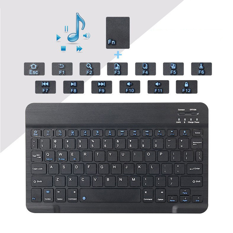 Image 3 - Portable Wireless Bluetooth Keyboard For iPad iPhone Macbook Rechargeable Mini Keyboard For iPad Air Pro 2017 2018 Tablet Keypad-in Keyboards from Computer & Office