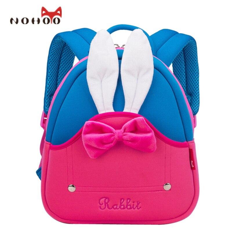 NOHOO Cartoon Rabbit Kids Baby Bags 3D Pattern Waterproof School Satchel Children School Bags For Girls 2-5 Years Old