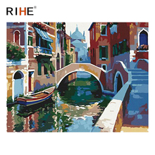 RIHE Town Boat Diy Painting By Numbers Abstract Bridge River Oil On Canvas Cuadros Decoracion Acrylic Wall Picture Art