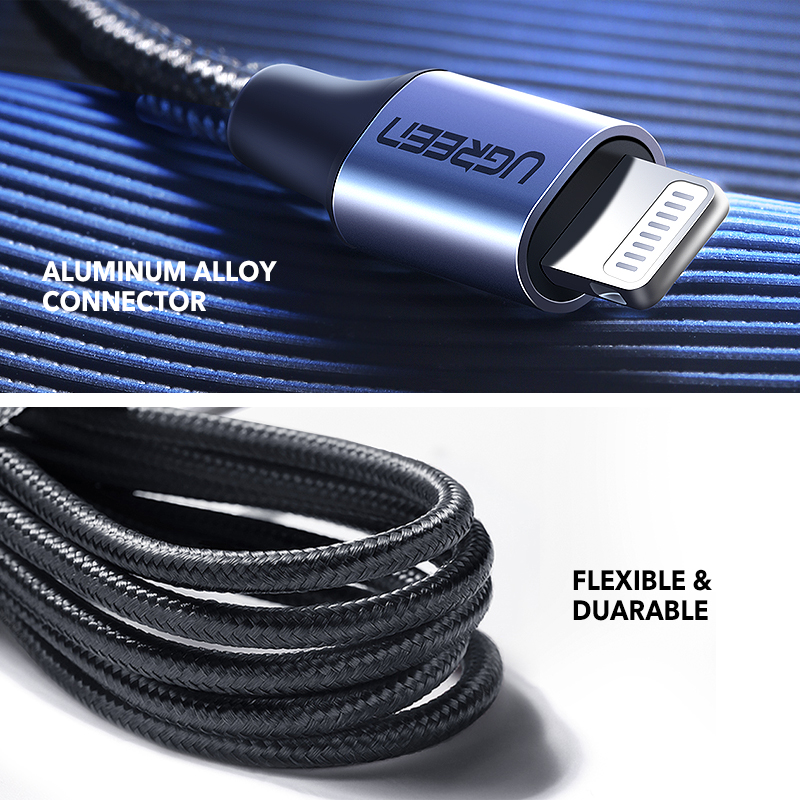 Fast Charger Ugreen MFi USB C Lightning Cable for iPhone X XS Max XR 18W PD  4