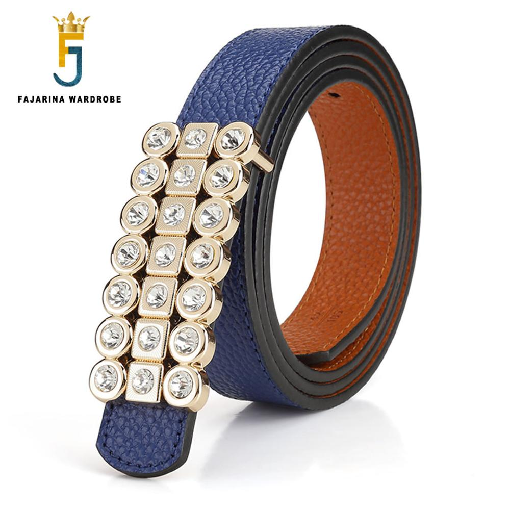 FAJARINA Ladies Quality Pure Genuine Leather Belts Double sides Used Cowhide Belts for Women Crystal Decoration Buckle LUFJ52