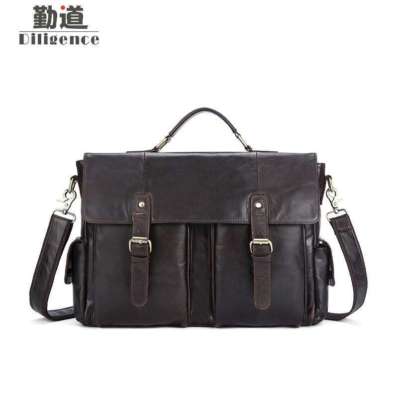 Genuine Leather Men's Briefcases For Business Handbags Messenger Men Crossbody Bags Men's Travel Laptop Bag Tote Bags Hot Sale