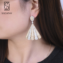 SISCATHY 2019 Trendy Geometric Nigerian Big Cubic Zirconia Drop Dangle Statement Earrings for Women Engagement Wedding Earings цена