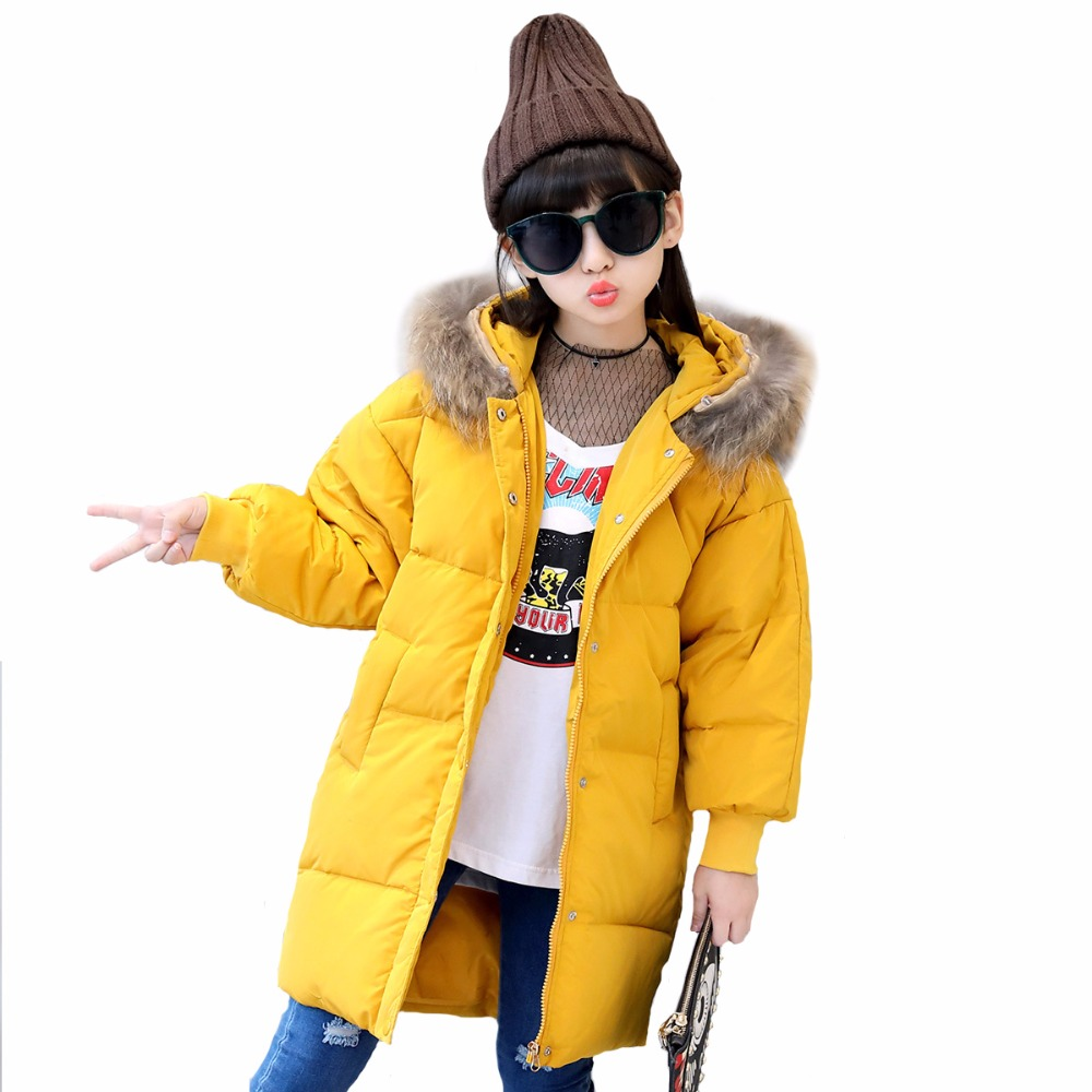 3 colors fur hooded children down coats girls winter long jackets kids clothes fashion child warm jacket for girls coat 6 8 10 Y girls parka coats 2016 girls faux fur coat winter coat medium long kids girls brand children jackets elegant childrens clothes