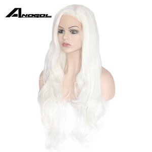Image 3 - Anogol Long Natural Wave High Temperature Fiber Side Part White Synthetic Lace Front Wig For Women