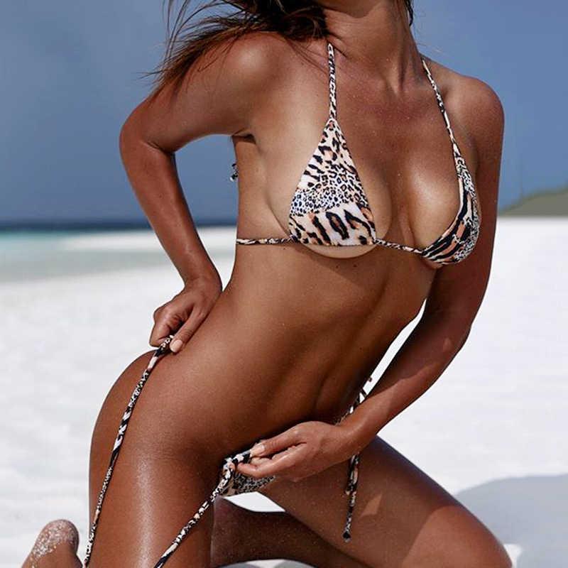 2165430817f 2019 Bandeau Mini String Bikini Leopard Swimsuit Women Micro Bikini set  Swimwear Female Beach wear Bather