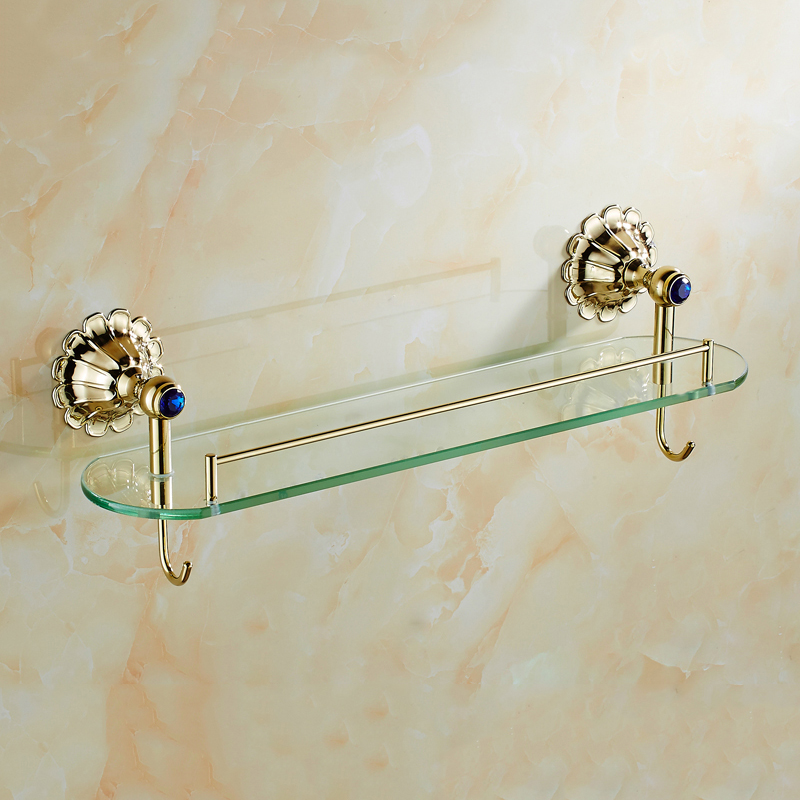 Petals Series European Style Antique Bathroom Single Glass Shelves Wall Mounted Bathroom Shelves With Hooks HQY-8518 the ivory white european super suction wall mounted gate unique smoke door