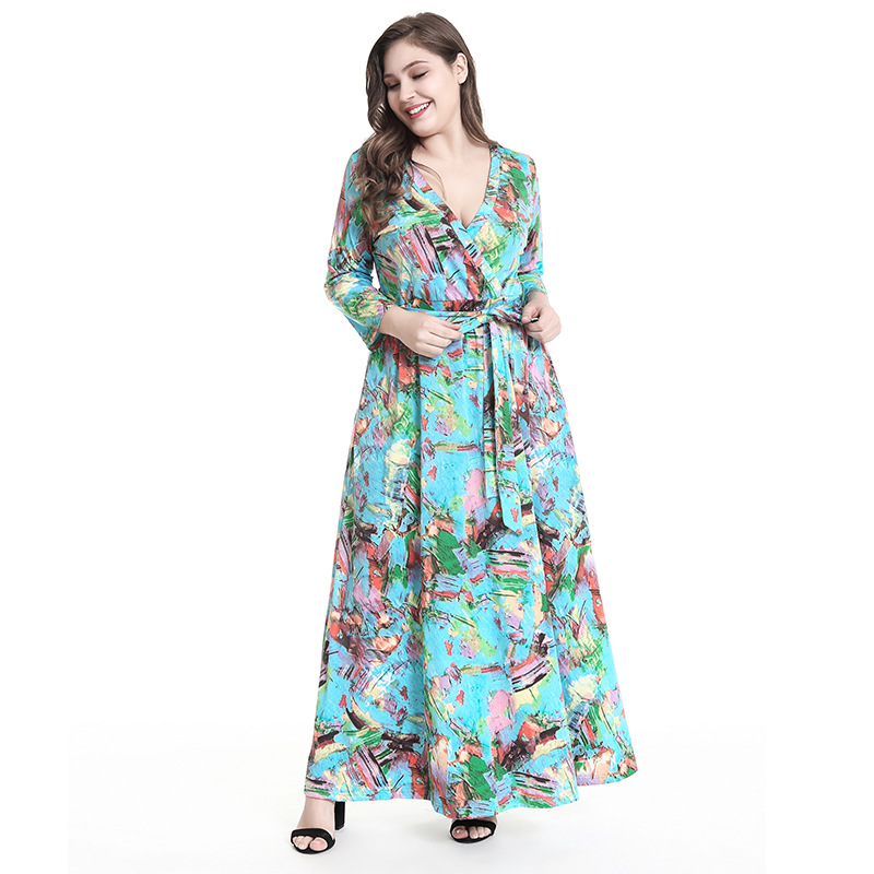 2019 Autumn winter Long Dress Women Fashion printing Sexy Deep V Collect waist Casual Evening Party bandage Dress plus size 5XL