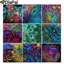DIAPAI Full Square/Round Drill 5D DIY Diamond Painting Colored flower peacock 3D Embroidery Cross Stitch Decor Gift