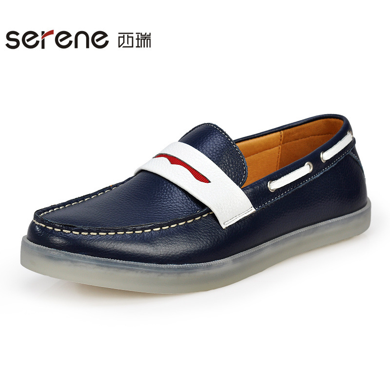 ФОТО Spring New Men's Leather Casual Shoes Men's Peas Shoes Men's Casual Lazy Driving Men Shoes