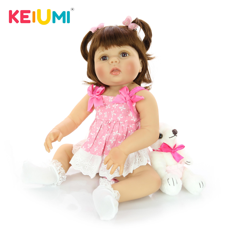 57 cm Realistic Reborn Baby Dolls Full Silicone Vinyl Realistic Newborn Girl Doll For Children Birthday