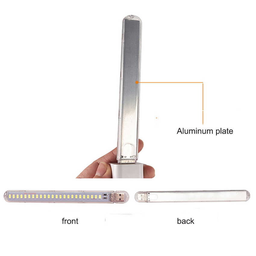Mini lampka led 24 leds usb DC5V zasilana lampa do czytania SMD5730 12W przenośne lampy awaryjne białe i ciepłe białe światło