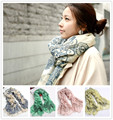 2016 women fashion Blue and white porcelain thin long scarf  lady's vintage rural style soft chiffon shawl wrap scarve