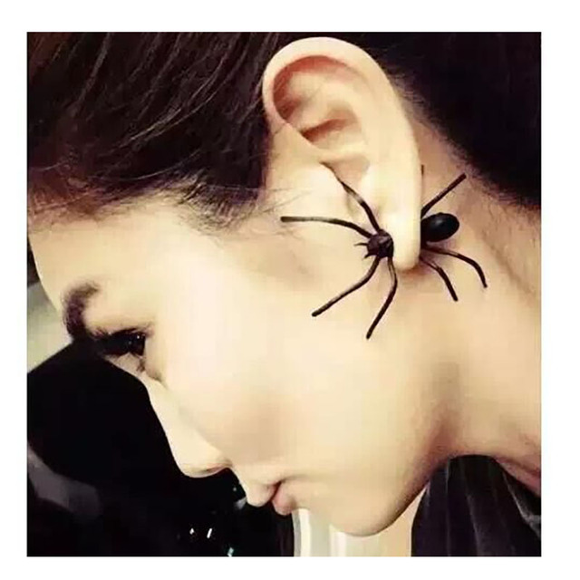 Halloween Decoration 1Piece 3D Creepy Black Spider Ear Stud Earrings for Haloween Party DIY Decoration Home Decor 3