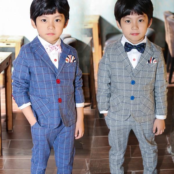 Korean style children suit three piece set boy vest gentleman checkered 2014 autumn leisure blazer - Online Store 813817 store