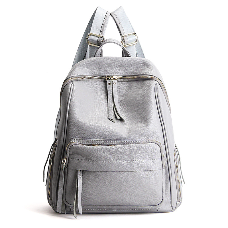 2017 Solid Color Large Women Backpack Daily Genuine Leather Female Shoulder School Bag for Young Teenager