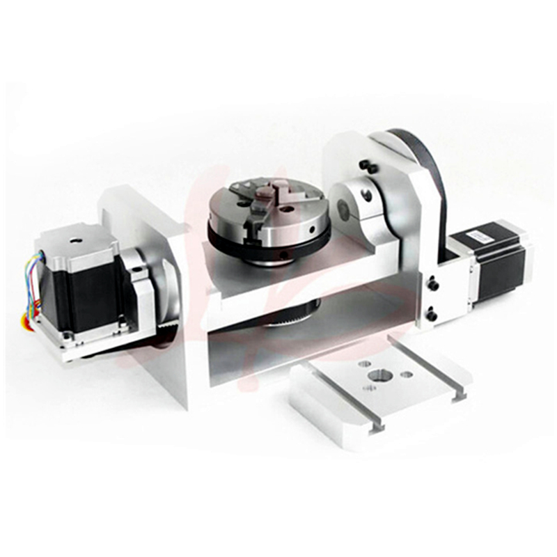 A aixs B axis rotation axis with chuck and table for cnc router milling machine cnc milling machine part rotational a axis 80mm 3 jaw chuck