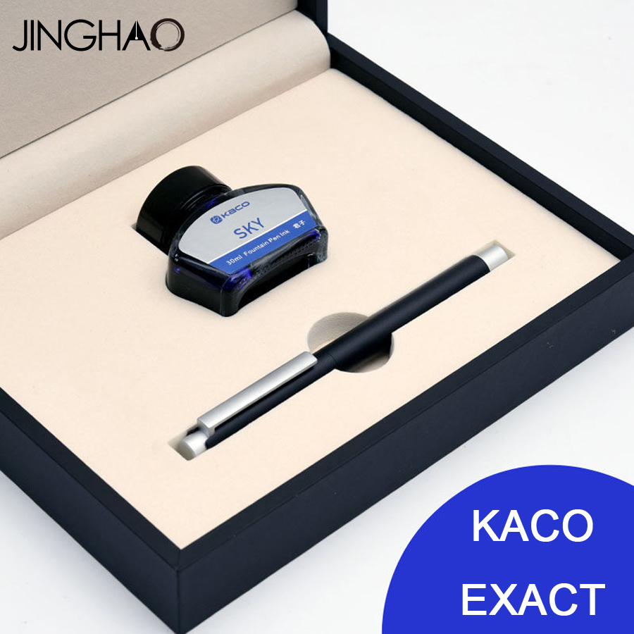 Jinghao KACO EXACT Fountain Pen Ink Series Black Fountain Pen + 30ML Blue Bottle Ink Luxury Metal Gift Pens for Business jinghao kaco exact fountain pen series luxury matte silver and black clip metal ink pens for office 0 5mm f nib gift pen case