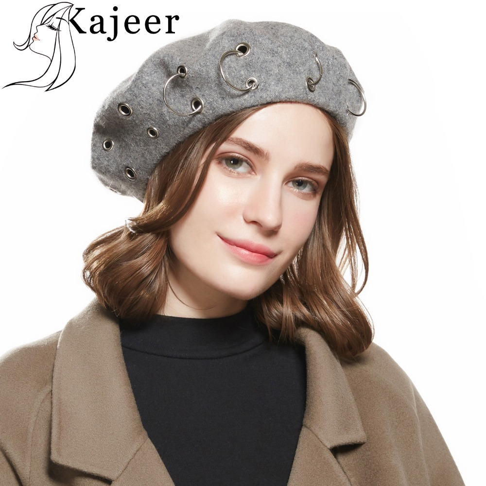 Kajeer Brand Solid Color Ladies Iron Ring Beret Iron Hip Hop Artist Fashion Bean Hat Autumn Winter Spring Wnter Beret Wool Hat image