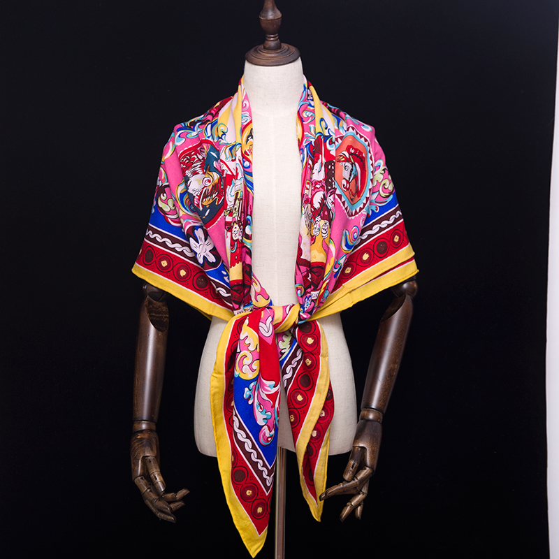 30% Soie 70% Cachemire Écharpe Femmes Foulards Designer De Luxe Marque Grand Carré Lady Châle Wraps 140*140 cm