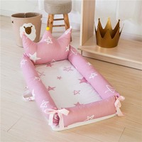 Portable Baby Crib For Newborns Cartoon Printing Removable And Washable Crown Baby Nest Folding Children's Bed 0 18M Bionic Cot