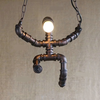 clothing store creative pendant lights Water pipes plumbing living room bedroom pendant lamp industrial wind bar SG4