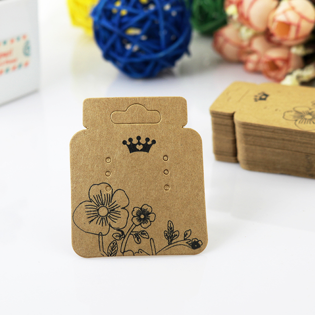 The Sole Custom Earring Display Cards 200pcs Lot Brown With Print Flower Paper Jewelry